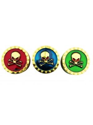 "3-Part ""Gold Skulls"" Shiny Metal Grinders - Assorted"