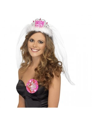 Bride To Be Tiara With Veil, White, With Pink Lettering