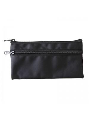 Black Pencil Case With 2 Zipper Compartments