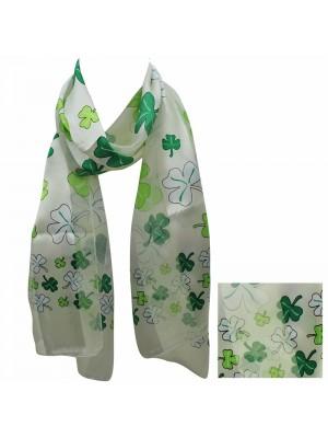 Wholesale St. Patrick's Day Shamrock Design Satin Stripe Scarves - Cream