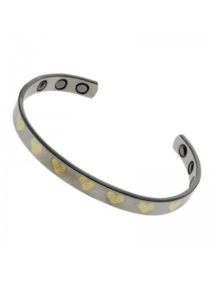 Magnetic Bangle - Silver With Gold Hearts (M)