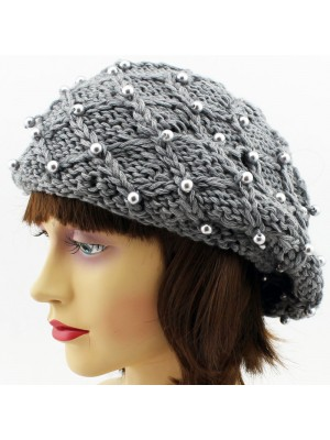 Ladies Beret Hat With Pearls - Assorted Colours