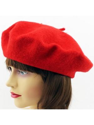 Ladies Acrylic Felt Beret Hat - Red