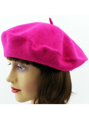 Ladies Acrylic Felt Beret Hat - Fuchsia
