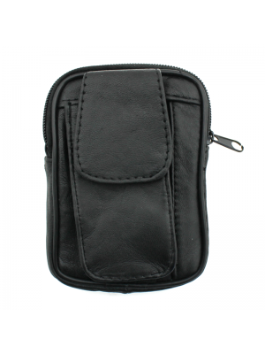 Fabretti Leather Purse with Phone Pouch - Black