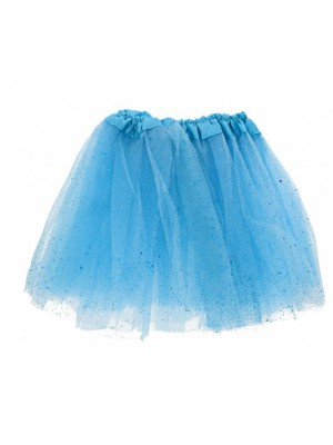 Baby Blue Glitter & Sequin Children's 3-Layer Tutu Skirt