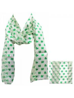Wholesale St. Patrick's Day Shamrock Print Satin Stripe Scarves - Cream