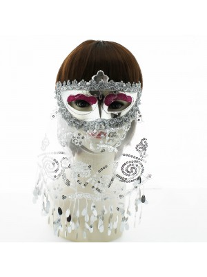 Shiny Venetian Style Masks With Veil & Sequins Assorted Colours