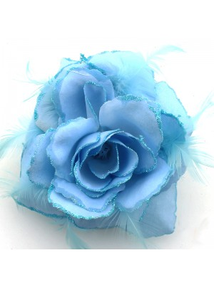 Rose Flower on Elastic -Baby Blue