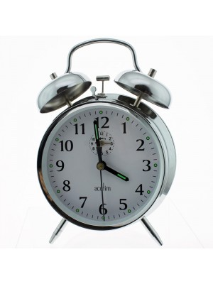 Acctim Keywound Saxon Bell Alarm Clock - Silver
