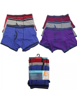 Mens Tom Franks 3 Pack Trunks With Keyhole -Assorted Colours & Sizes