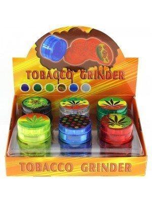 Wholesale 4-Part Leaf Design Herb Plastic Grinder - Assorted Designs