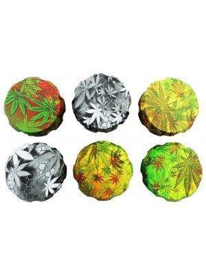 "4-Part Metal Grinder ""Weed Design"" - Assorted"