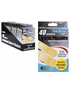 Cushioned Sports Waterproof Plasters (Pack of 40) - Asst. Sizes