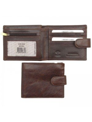 Wholesale Men's Woodbridge Genuine Leather RFID Wallet With Closure Button - Brown