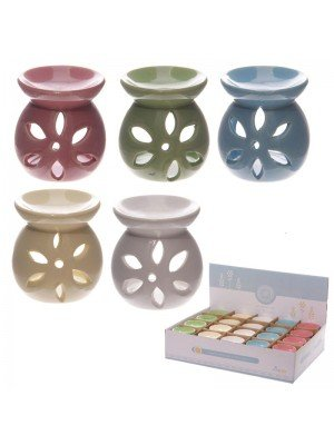 Small Ceramic Petal Cut Out Oil Burners - Assorted Colours