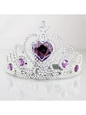 Silver Plastic Tiara With Centre Heart Stone - Assorted Colours