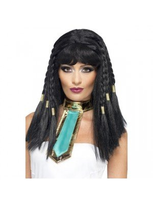 Braided Cleopatra Wig With Gold Trim - Black