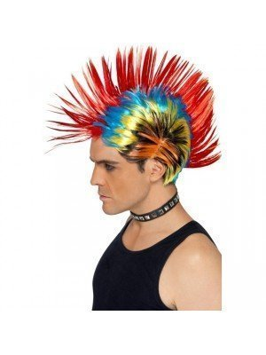 80s Street Punk Mohawk Multi-Coloured Wig