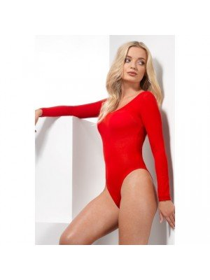 Opaque Bodysuit, Red, Long Sleeve, Snap Crotch