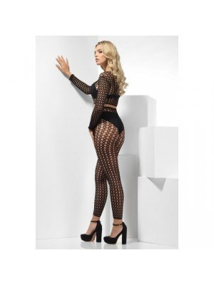 Fence Net Set, Black, with Crop Top & Footless Tights