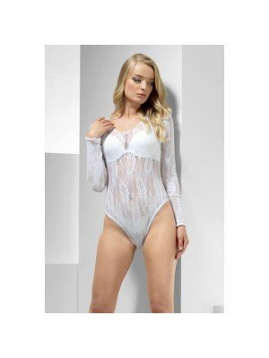 Lace Bodysuit, White, Long Sleeve, Snap Crotch
