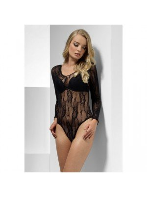 Lace Bodysuit, Black, Long Sleeve, Snap Crotch