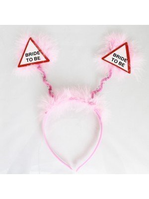 Bride To Be' Head Bopper With Feathers- Light Pink