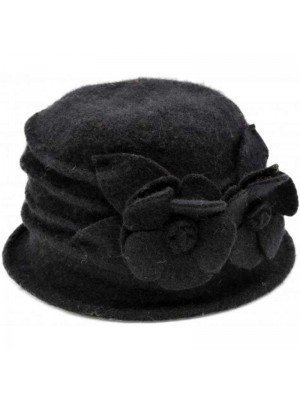 Wholesale Women Wool Cloche Hat Vintage - Black