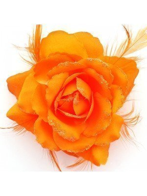 Rose Flower on Elastic and Clips - Neon Orange