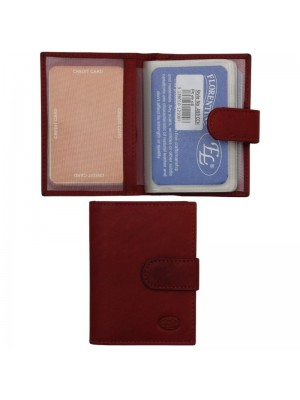 Wholesale Men's Florentino Leather Card Wallet With Closure Button - Red