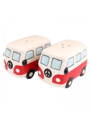 Pair of Red Campervans Cruet Set