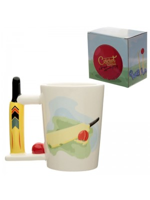 Ceramic Cricket Bat and Ball Shaped Handle Mug - 300ml