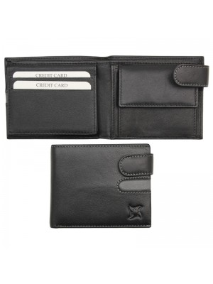 Wholesale Men's Leather Wallet With Closure Button - Black