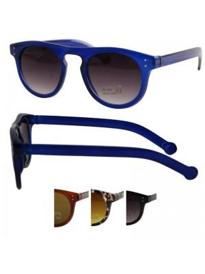 Wholesale Round Classic Style Plastic Sunglasses In PBHC - Assorted Colours