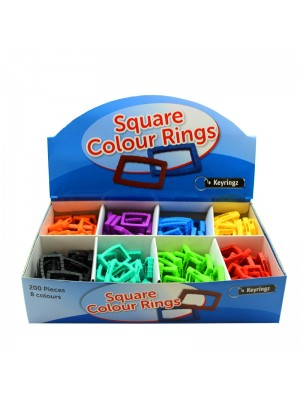 Wholesale Square Colour Rings - Assorted Colours