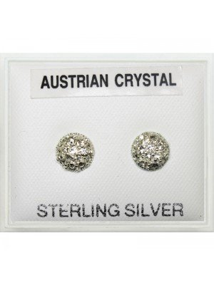 6 mm Round Shape Glitter Sterling Silver Studs