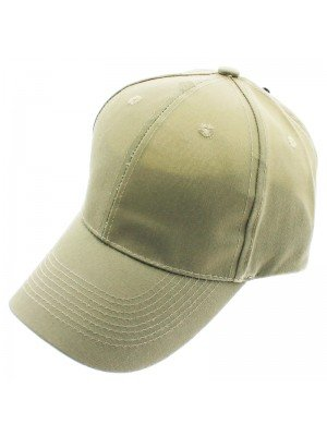 6 Panel Plain Baseball Cap - Beige