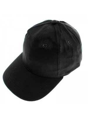 6 Panel Plain Baseball Cap - Black