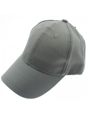 6 Panel Plain Baseball Cap - Grey