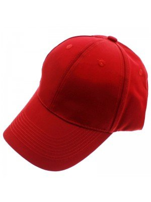 6 Panel Plain Baseball Cap - Red
