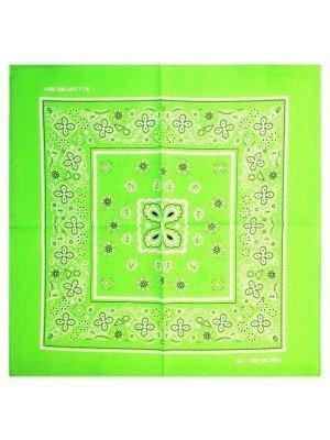 Floral Print Bandana - Neon Green