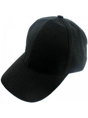 Plain Baseball Cap - Black (6 Panels)