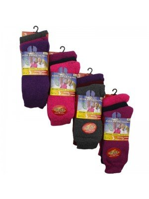 Wholesale Ladies Dark Thermal Winter Socks (3 Pair Pack) - Asst.