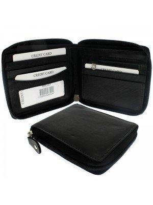 Men's Woodbridge RFID Zipped Leather Wallet - Black