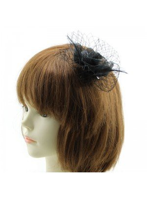 Flower Fascinator with Net on clip - Assorted Colours