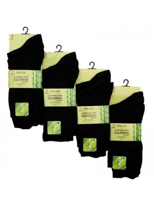 Wholesale Ladies Black Bamboo Socks (3 Pair Pack)