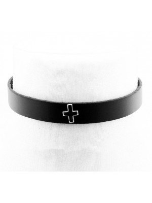 Leather Choker With a Cross (1.5cm)