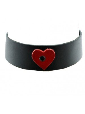 Leather Choker With A Heart (3.5cm)