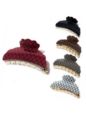 Ladies Fashion Clamps - Oval Print (Assorted Colours) 9cm
